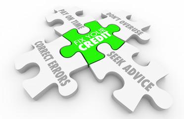Fix Your Credit Steps Improve Score Rating Puzzle 3d Illustratio