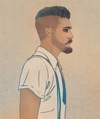 Portrait of stylish fashion bearded man