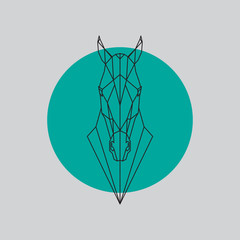 Horse head geometric lines silhouette isolated on gray and green background. Vector design element illustration.