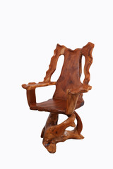 Antique wooden chair with  isolated on white background.