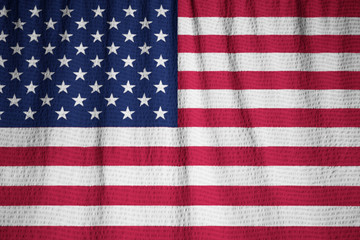Closeup of Ruffled United States of America Flag, United States