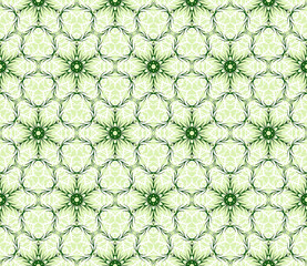 Seamless geometric pattern on a light green background with the image of green and white snowflakes. vector