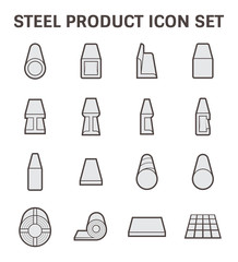 Vector icon of steel pipe and construction material.