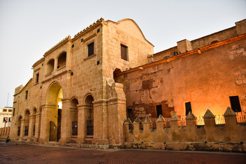 Santo Domingo, Dominican Republic. View of famous Cathedral in Columbus Park, Colonial Zone.
