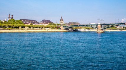 Bridge on the Rhine river, in Mainz, Germany