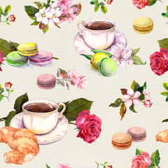Tea, coffee pattern - flowers, croissant, teacup, macaroon cakes. Watercolor. Seamless