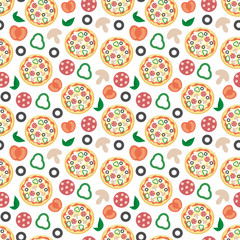 Pizza pattern. Vector illustration