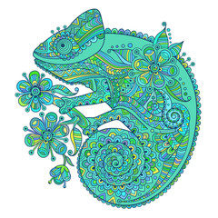 Vector illustration with a chameleon and beautiful patterns in blue  green shades