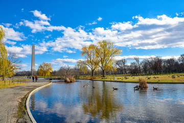 Washington DC, USA. Vista panoramica del Washington Monument dal Constitution Gardens.
