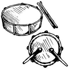 Drum set. Vector illustration, doodle style