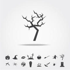 tree halloween icon set