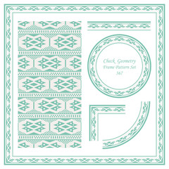 Vintage Border Pattern 357 Check Square Geometry