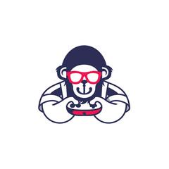 Gamers Monkey Character Illustration Logo Vector Image