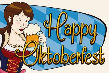 Happy Pretty Woman Celebrating Oktoberfest with a Stein, Vector Illustration