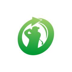 Golf Practice Logo Vector Image Icon