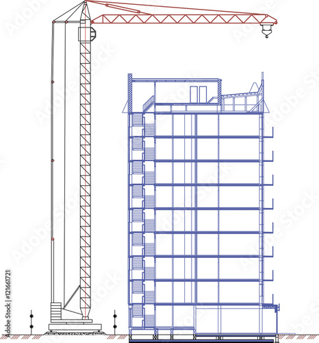 crane drawing, tower crane, construction crane drawing of a