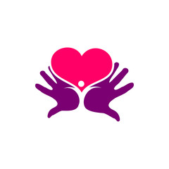Love Hand People Charity Logo Vector Image Icon