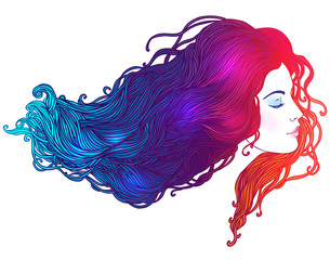 Vector portrait of a beautiful girl with dyed hair