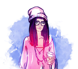 Urban street style: Pretty hipster girl with pink hair holding c