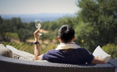 Honeymoon wine tasting in Sonoma Valley vineyard