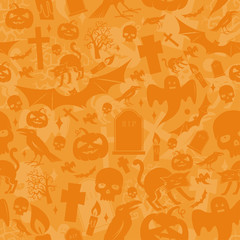 Halloween orange seamless pattern.