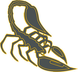 Silhouette of scorpion as emblem, sign or logo