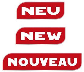 Neu! New! Nouveau!, Angebot, Button, Illustration