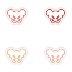 Set paper stickers on white background pelvic bones