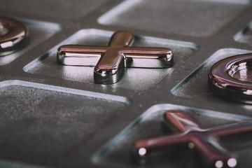 metal tic tac toe board Vintage Retro Filter.