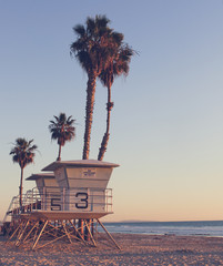 Vintage California Life Guard Station - California beach with life guard tower