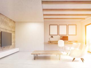 Sunlit white living room