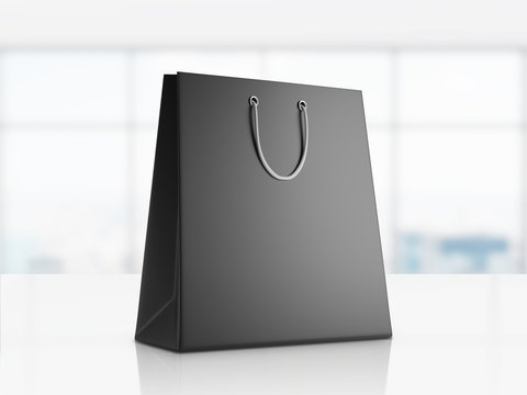 Black shopping bag in office