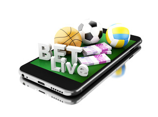 3d Smartphone with sport balls, money and bet live. Betting conc