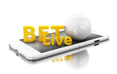 3d Smartphone with basquet ball and bet live. Betting concept.