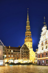 Saint Peter church and House of the Blackheads in Riga