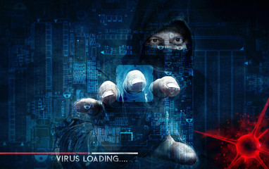 Fototapeta hacker and computer virus - concept