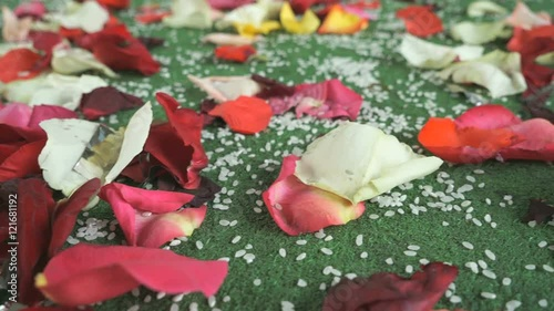 Wedding Tradition Rose Petals Scattered On Carpet Stock Footage