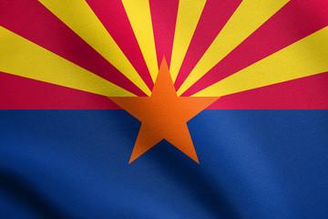 Flag of Arizona waving with fabric texture