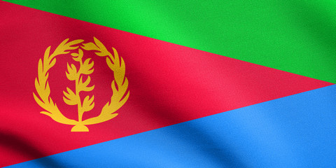 Flag of Eritrea waving with fabric texture