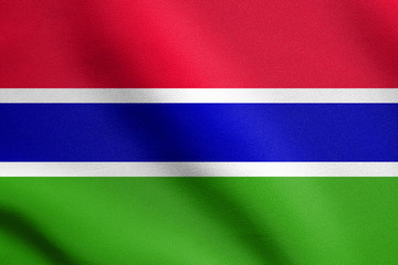 Flag of the Gambia waving with fabric texture