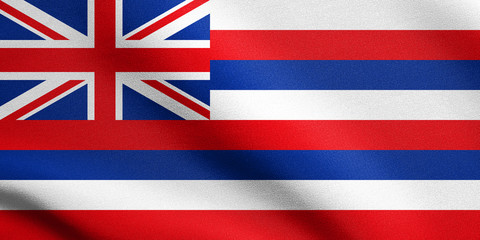 Flag of Hawaii waving with fabric texture
