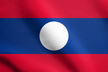 Flag of Laos waving with fabric texture