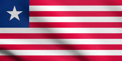 Flag of Liberia waving with fabric texture