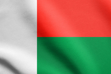 Flag of Madagascar waving with fabric texture
