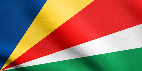 Flag of Seychelles waving with fabric texture