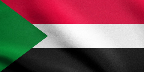 Flag of Sudan waving with fabric texture