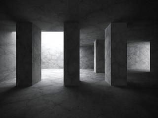 Dark concrete room interior background. Modern architecture