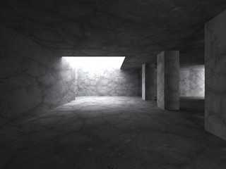 Concrete basement room interior with columns and lights