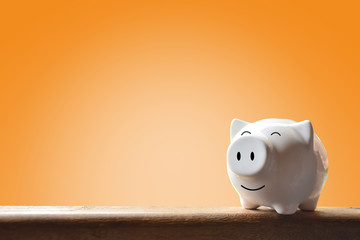 Piggy bank on  background. Soft focus