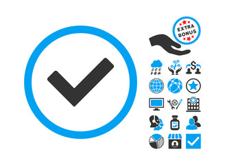 Ok pictograph with bonus clip art. Vector illustration style is flat iconic bicolor symbols, blue and gray colors, white background.